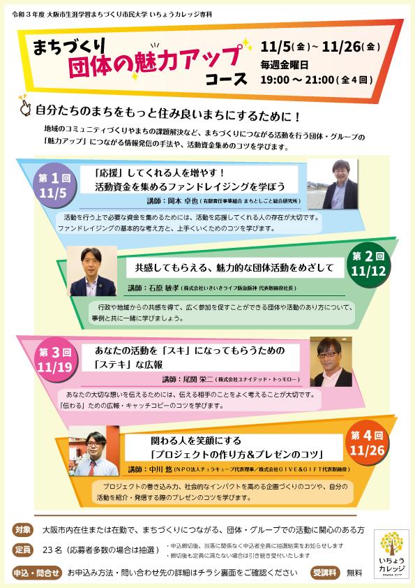 大阪市立総合生涯学習センター主催の「いちょうカレッジ専科」の講師を担当